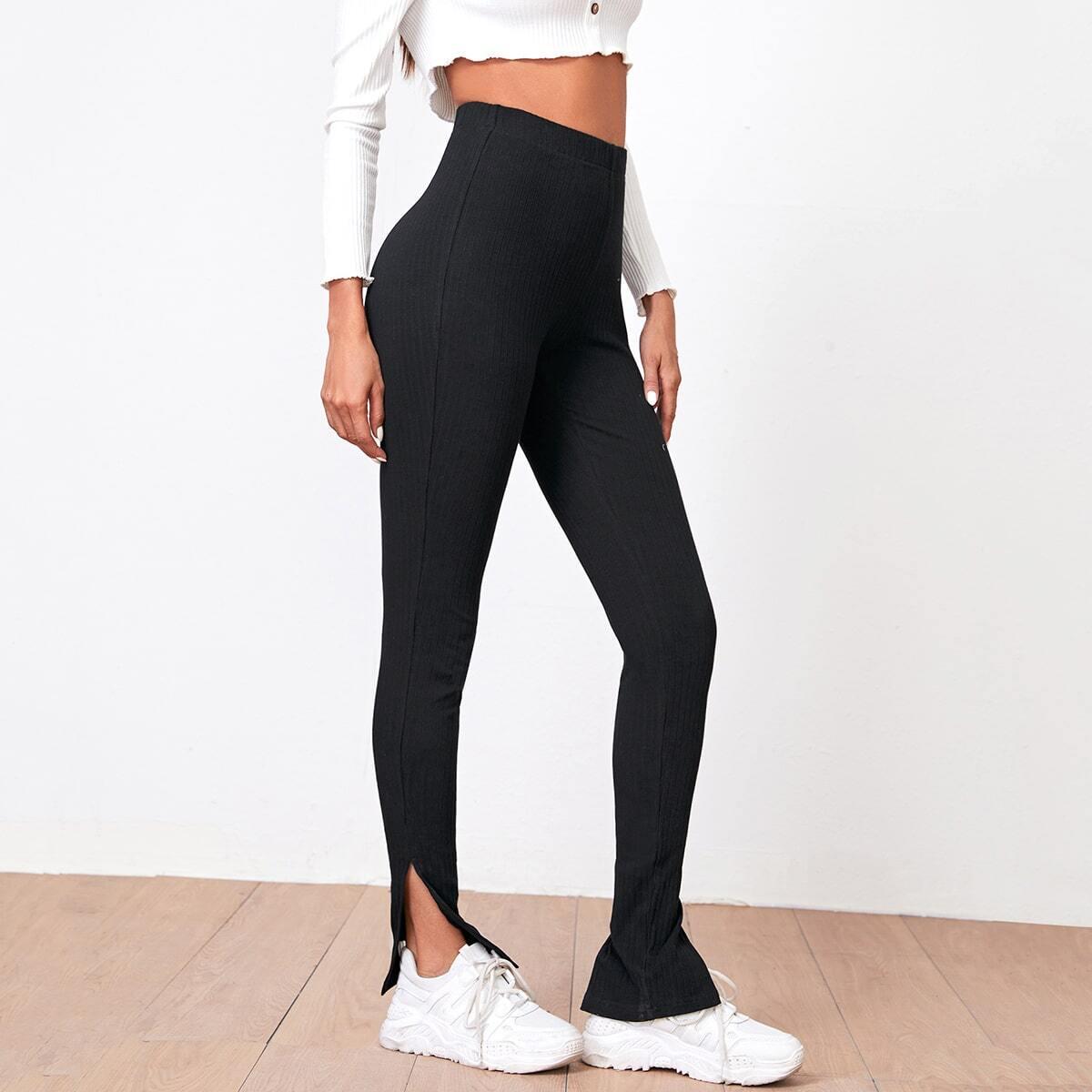 Трикотажные брюки с разрезом