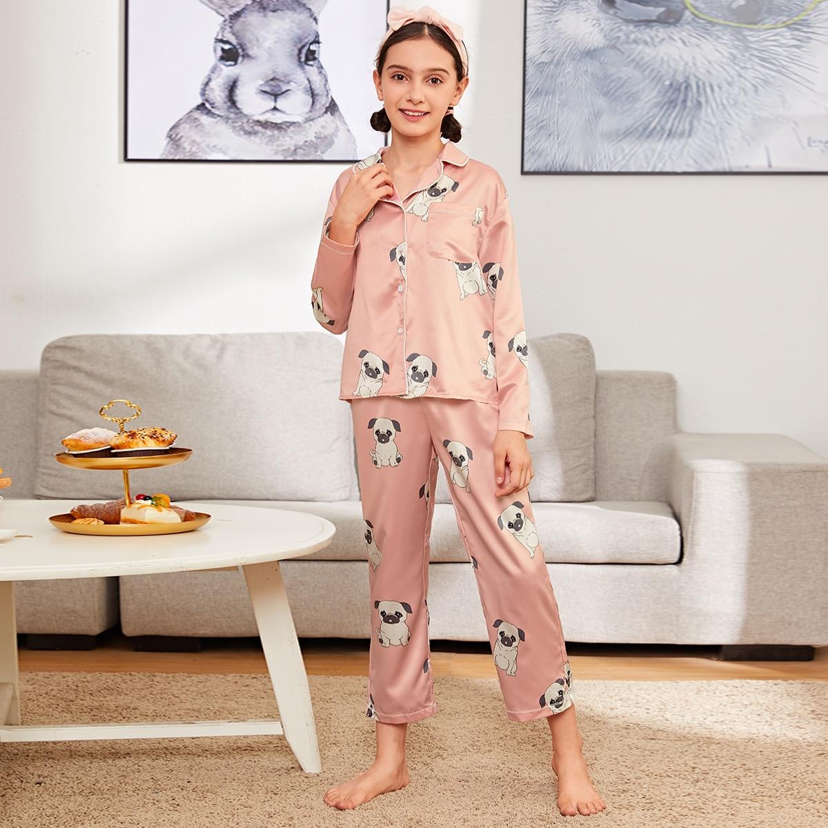 Атласная пижама с узором собаки для девочек