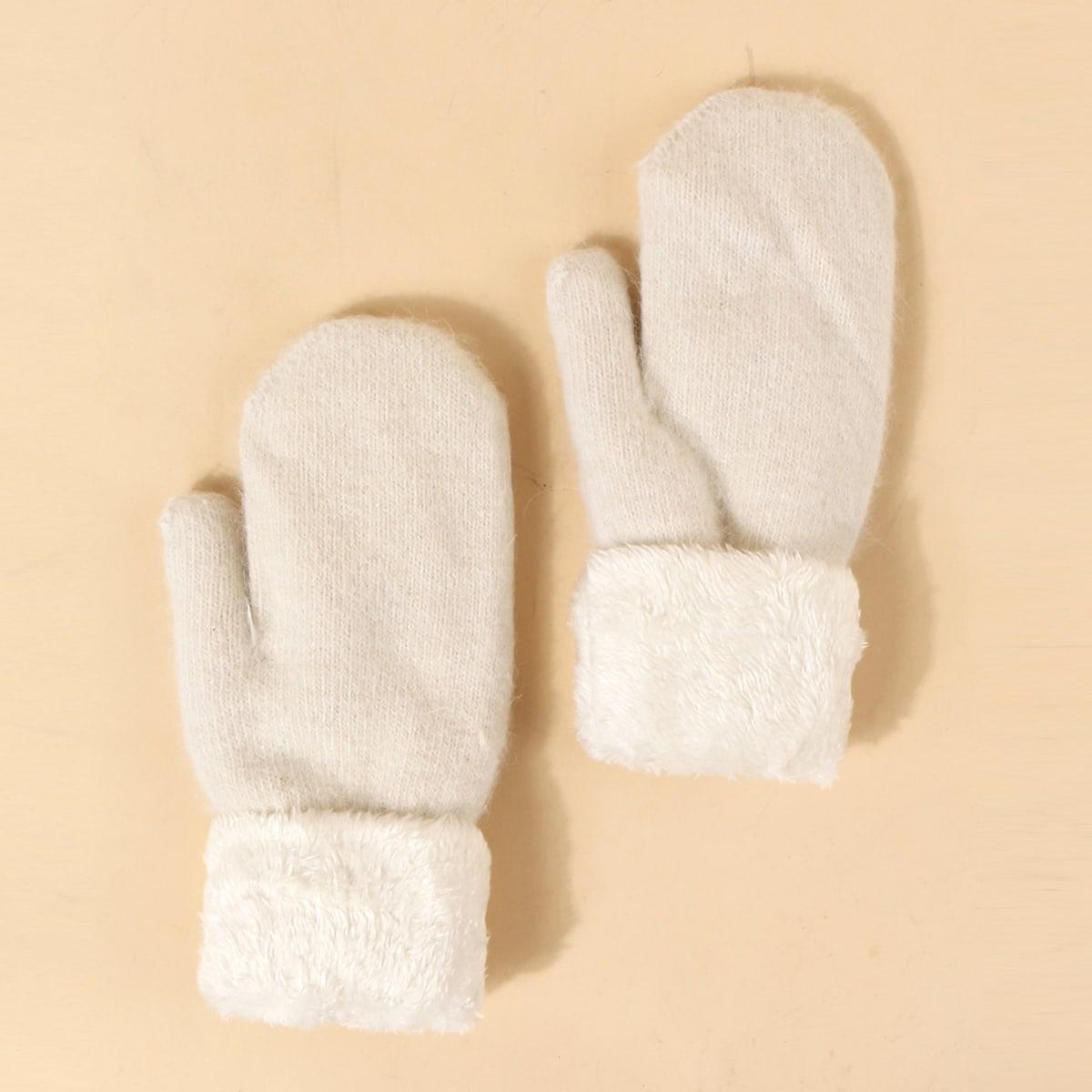 Вязаные перчатки с плюшевой отделкой