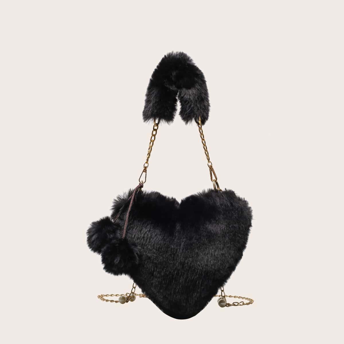 Плюшевая сумка в форме сердечка с цепочкой и помпоном