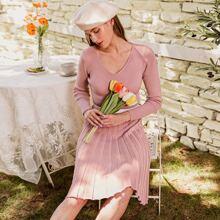 Wide Waistband Rib-knit Sweater Dress