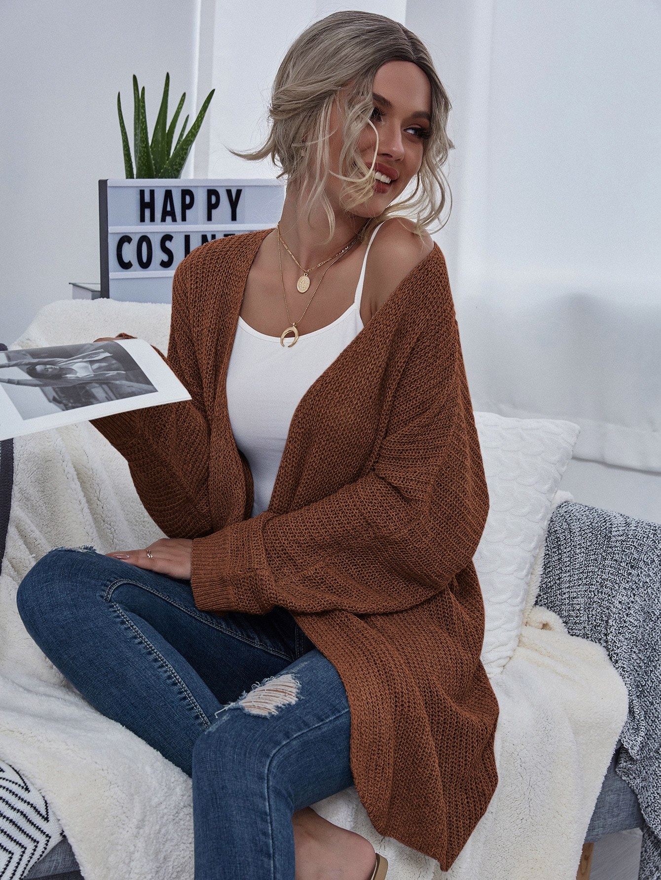 Chunky Knit Open-Front Cardigan thumbnail