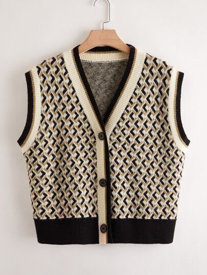 Plus Geo Pattern Button Front Cardigan Vest
