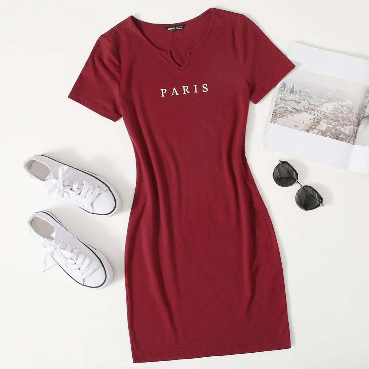 Plus Notched Neck Letter Graphic Dress