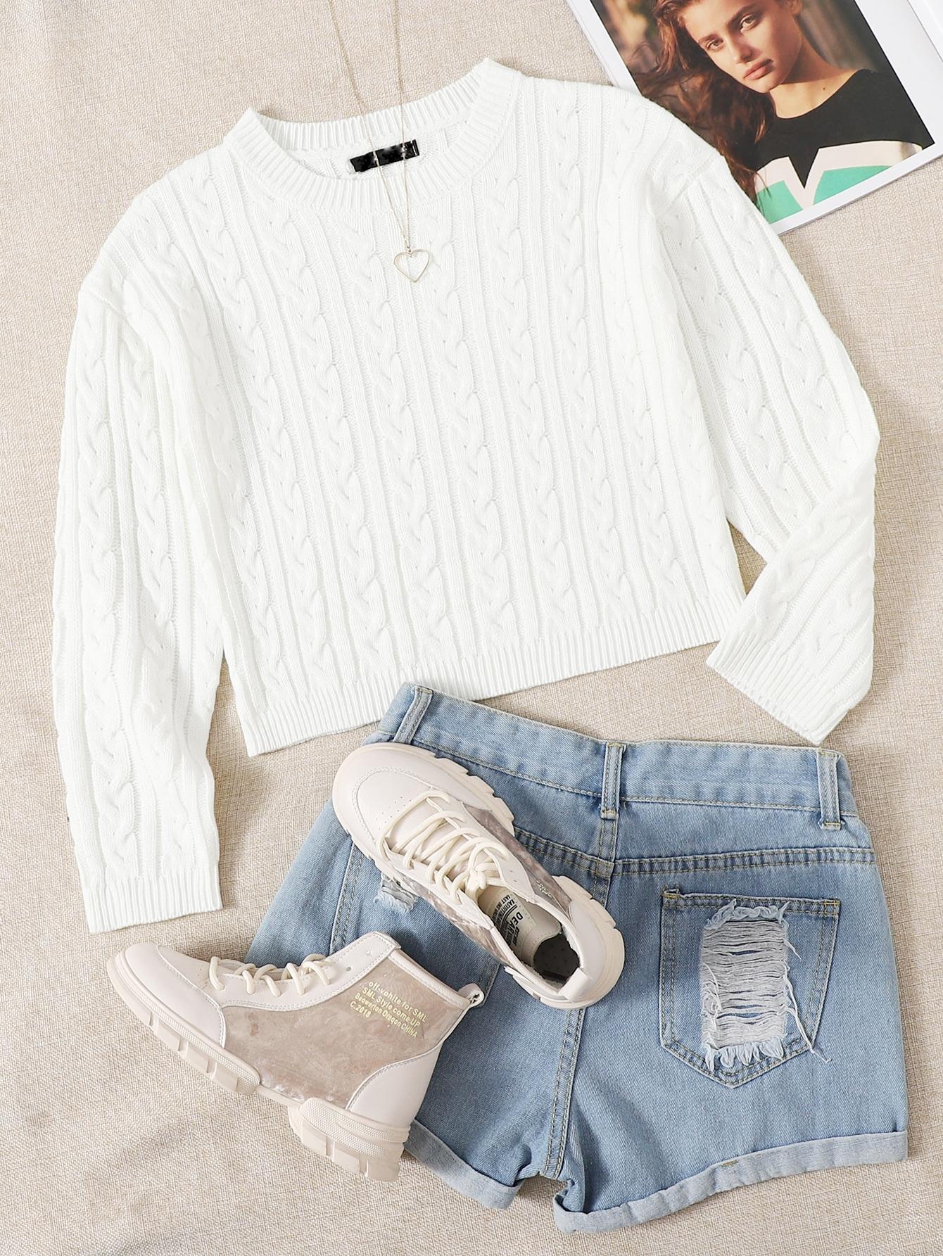 Drop Shoulder Cable Knit Crop Sweater thumbnail