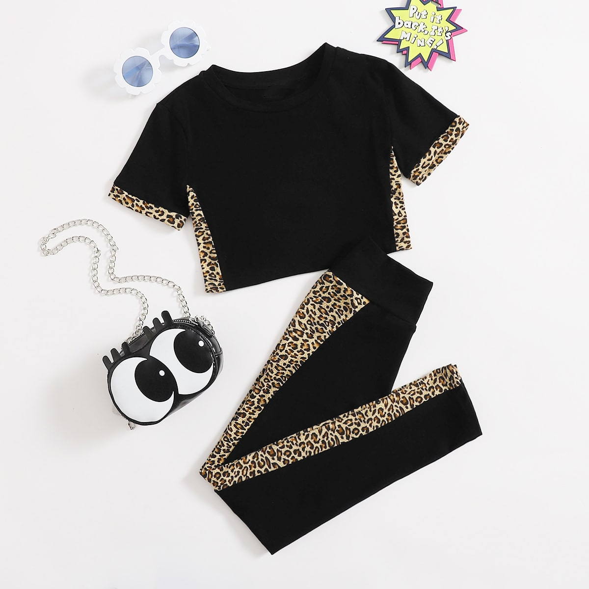 Girls Leopard Print Top & High-Rise Leggings Set