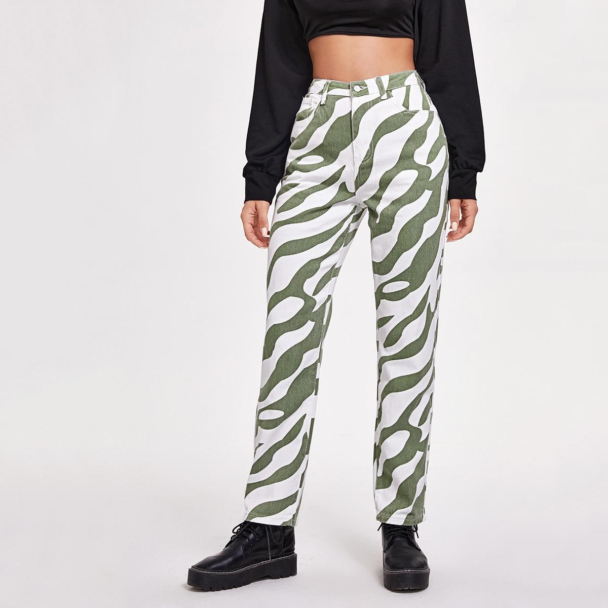 Прямые джинсы с зебровым принтом без пояса