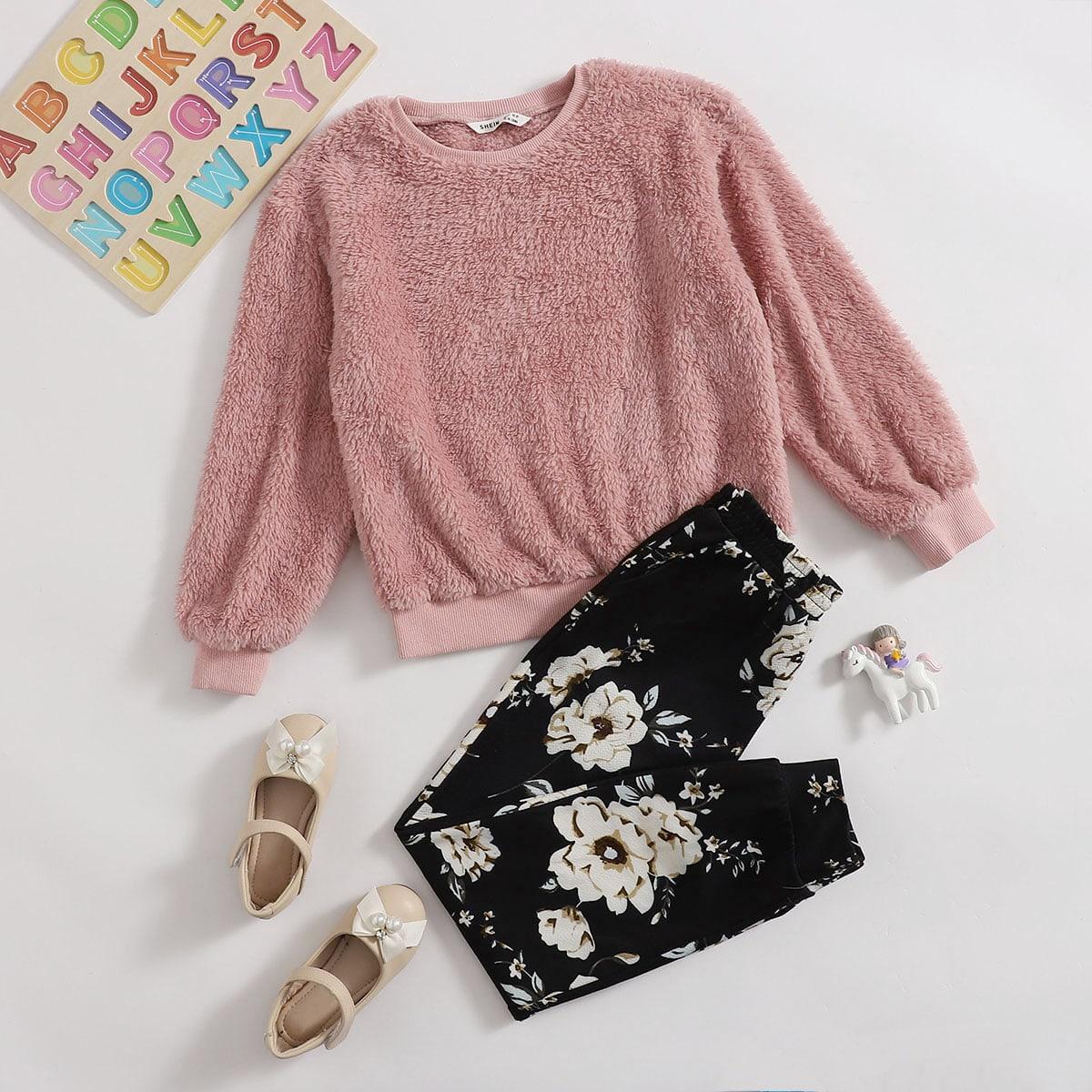 Плюшевый пуловер и джоггеры с цветочным принтом для девочек