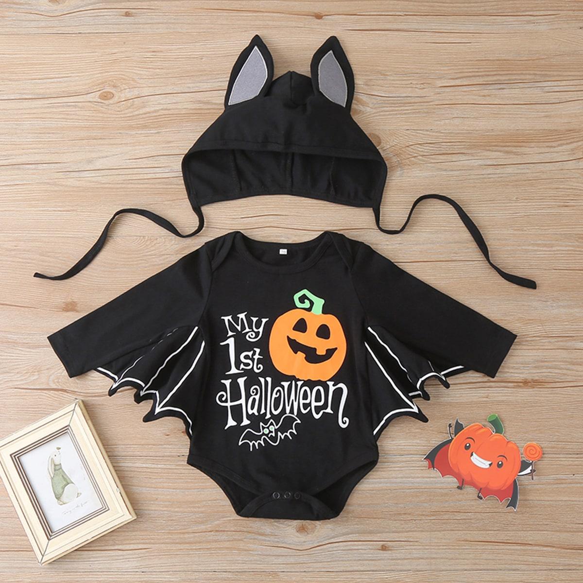 Боди и шапка с текстовым принтом на хэллоуин для мальчиков