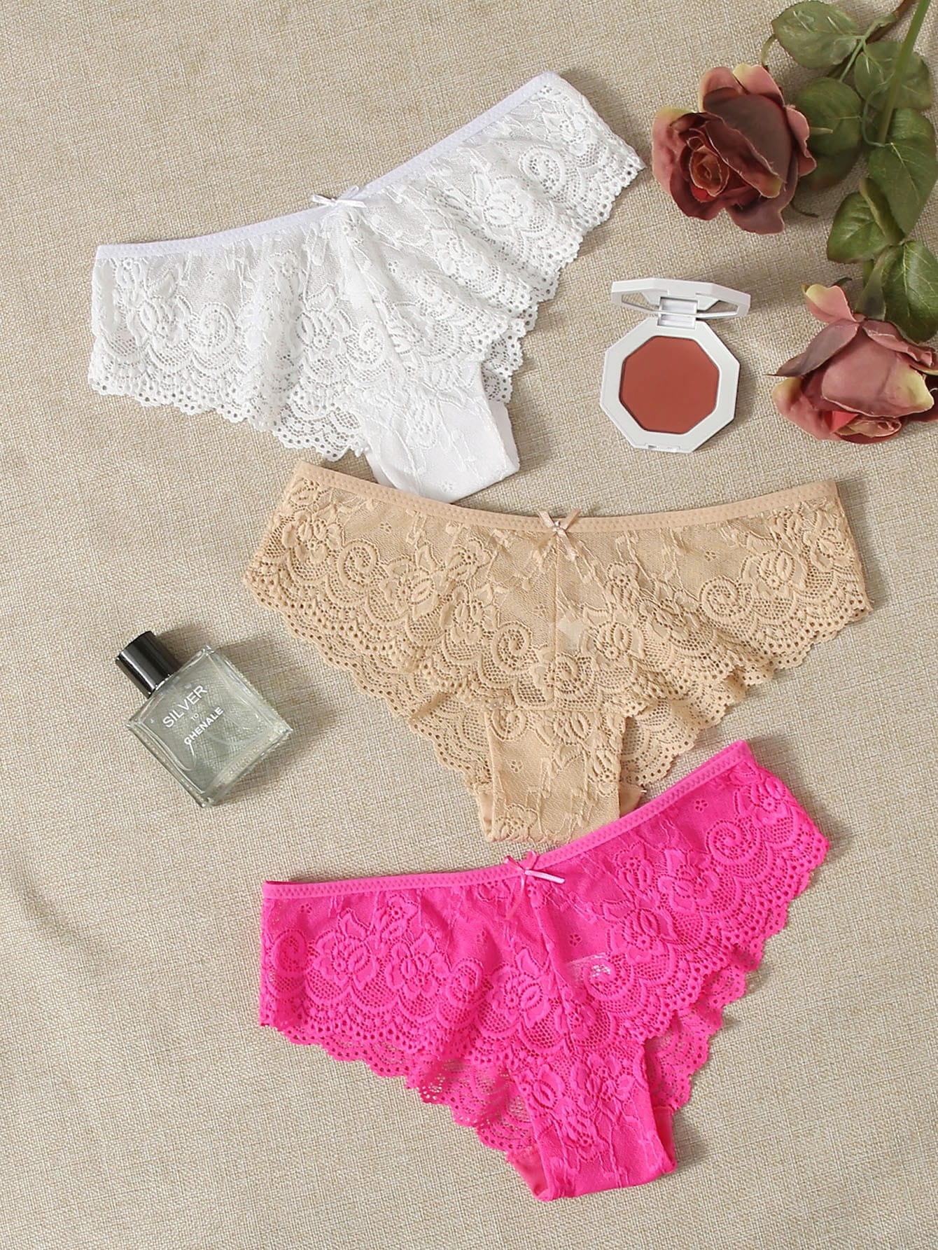 3pack Scallop Floral Lace Panty Set thumbnail