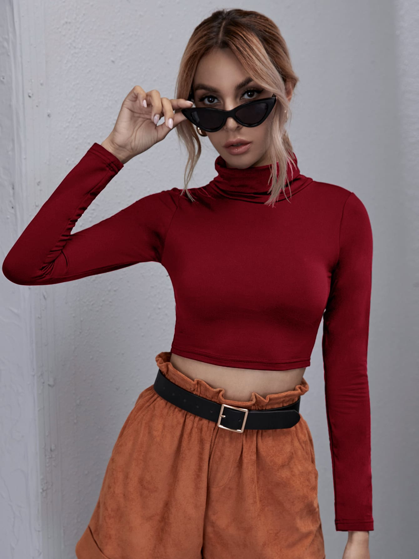 Turtle Neck Solid Tee thumbnail