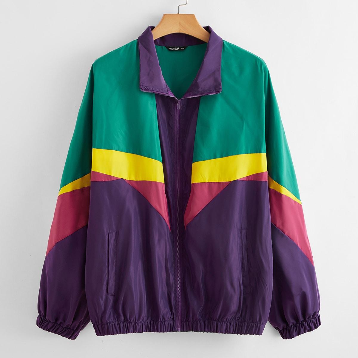 Контрастная куртка ветровка размера плюс с молнией