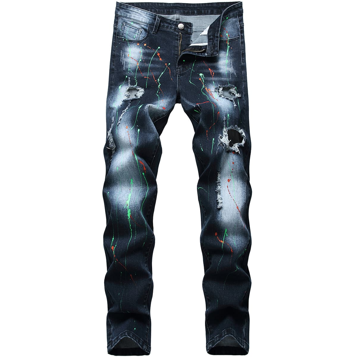 Men Splash Ink Ripped Washed Skinny Jeans
