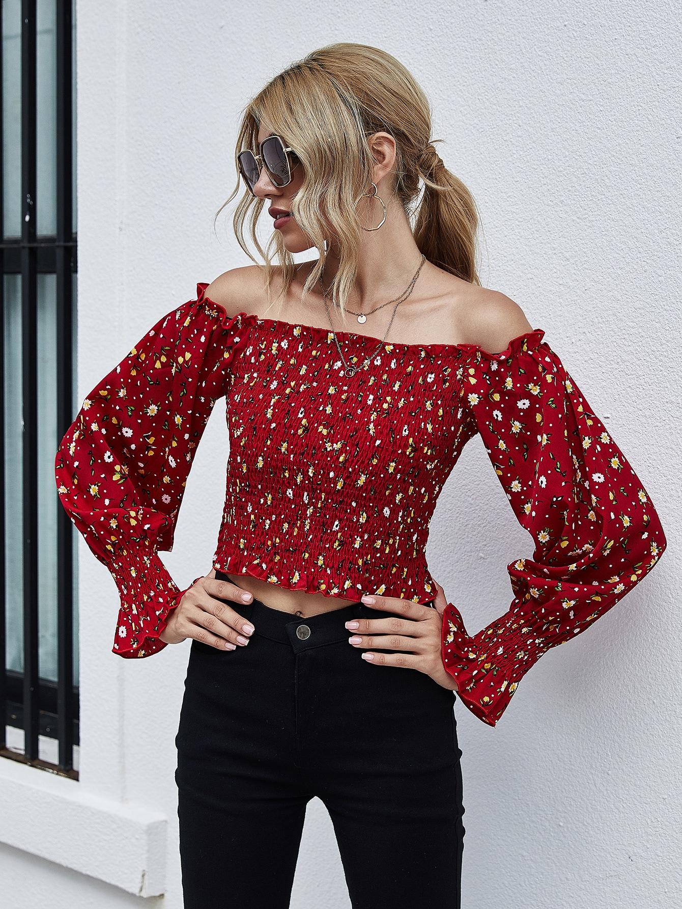 Ditsy Floral Print Ruffle Trim Shirred Bardot Top thumbnail