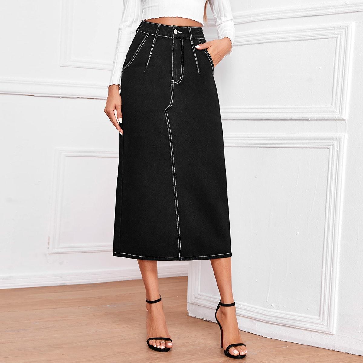 Черная джинсовая юбка с разрезом