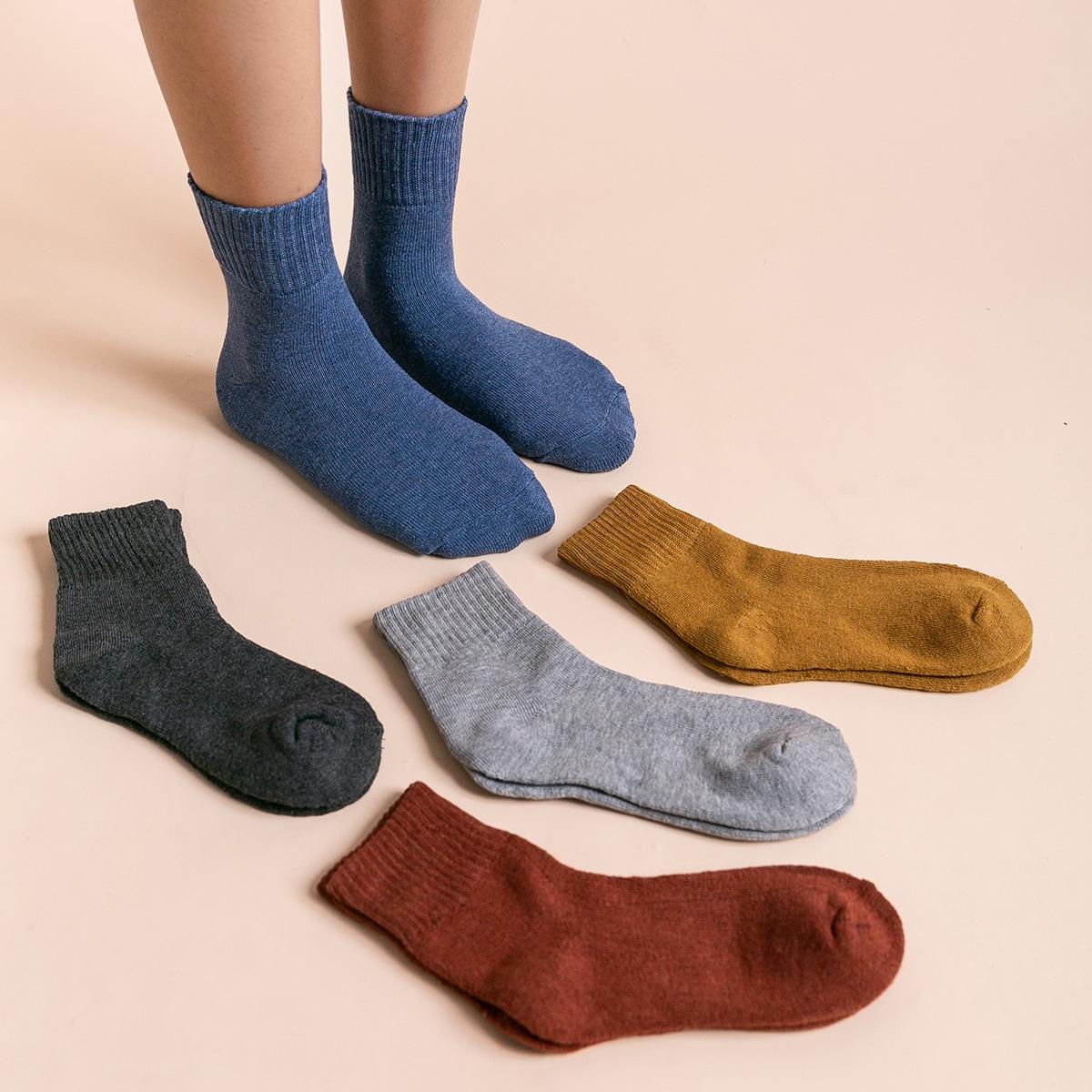 5 paires Chaussettes à ourlet côtelé