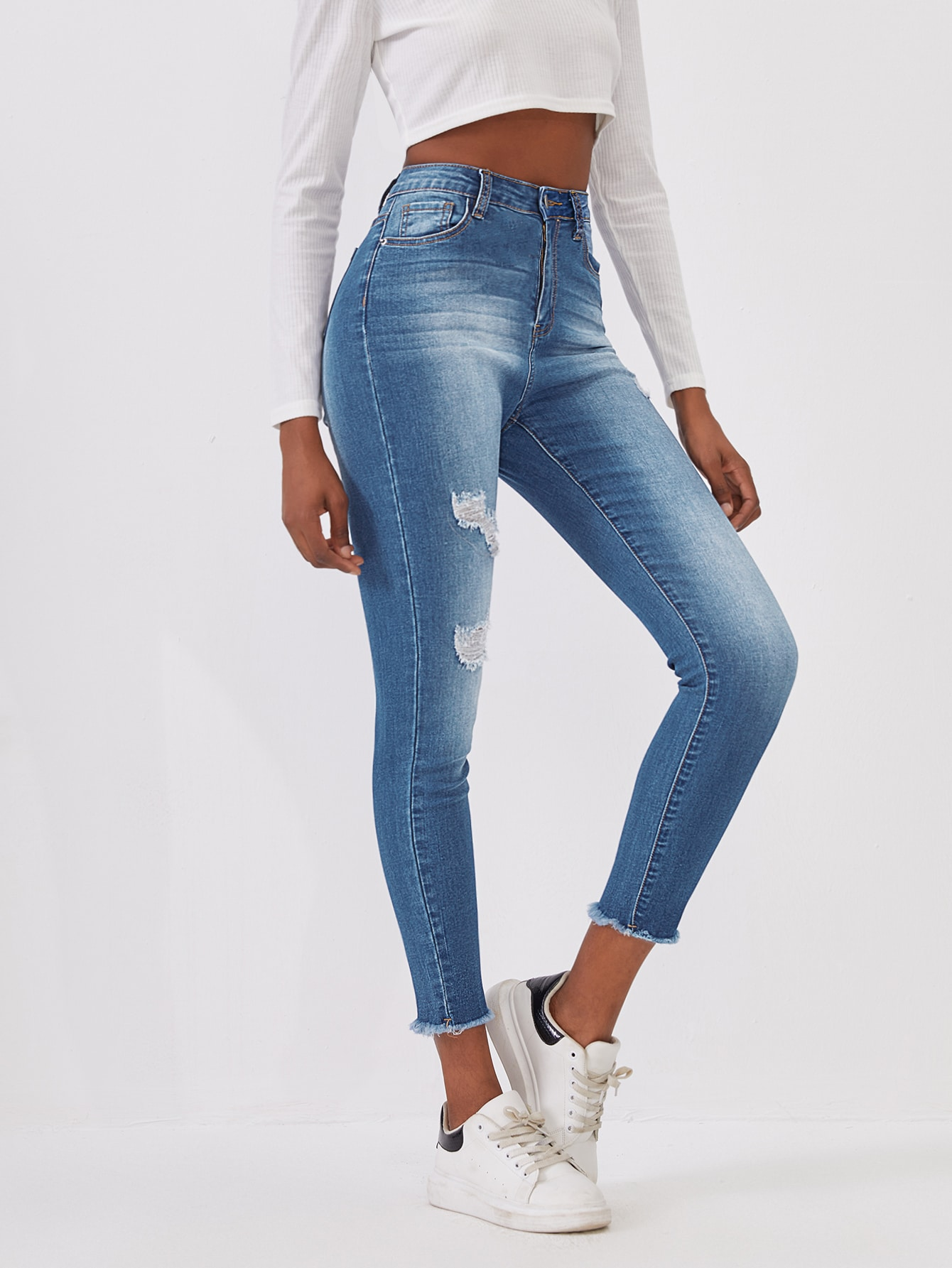 Bleached Wash Ripped Jeans thumbnail