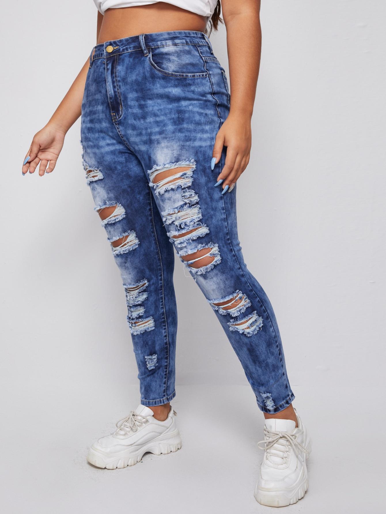 Plus Acid Wash Distressed Skinny Jeans thumbnail