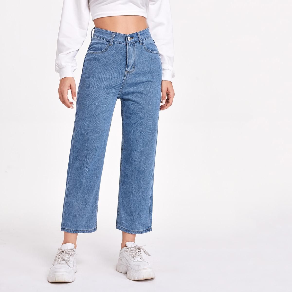 Однотонные короткие джинсы с карманом