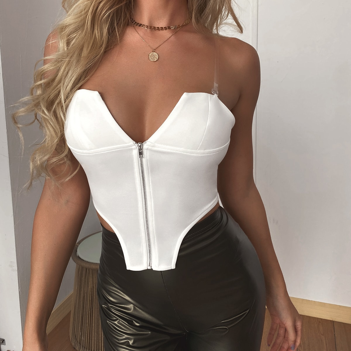 Sexy Vlak Dame top Rits