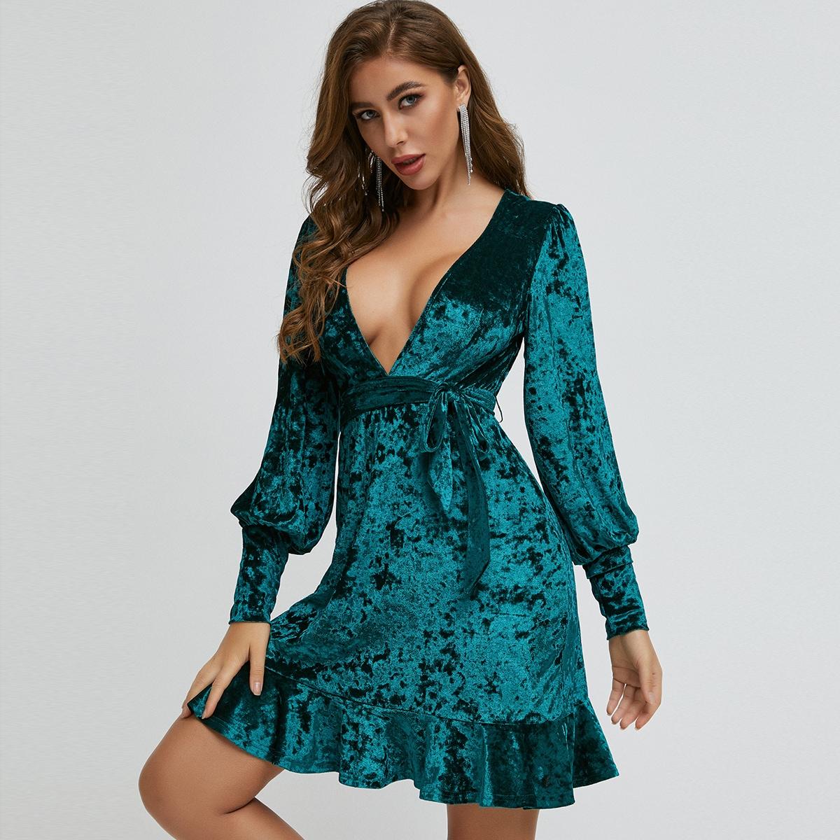 бархатое платье с поясом и оборкой SheIn swdress42200708678