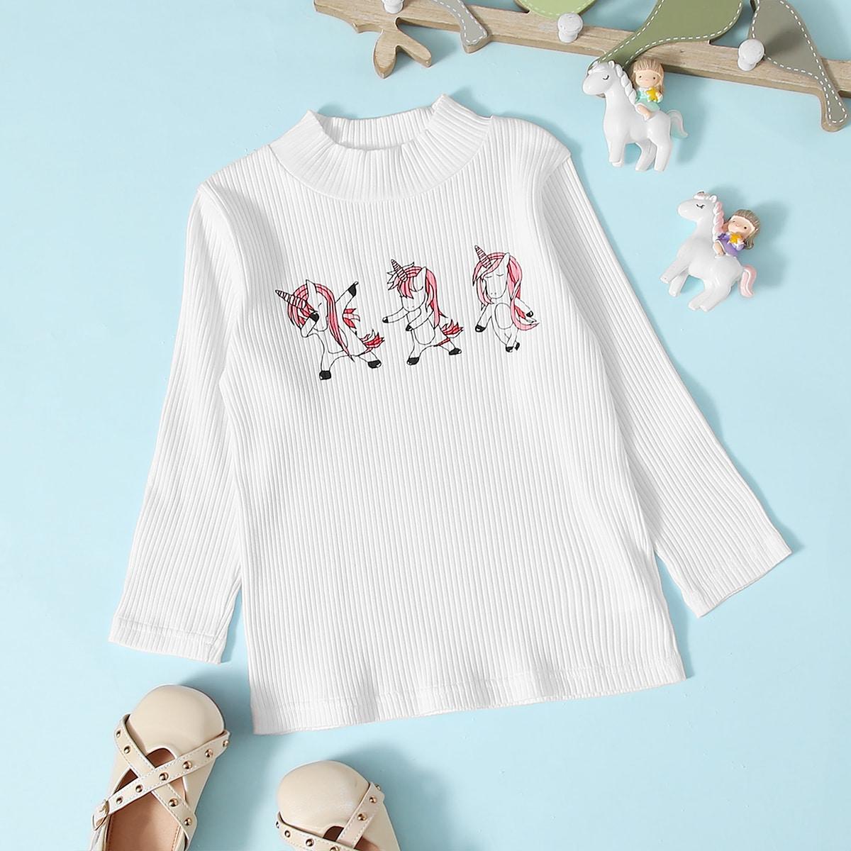 Шнуровка с карикатурой повседневный футболки для маленьких девочек