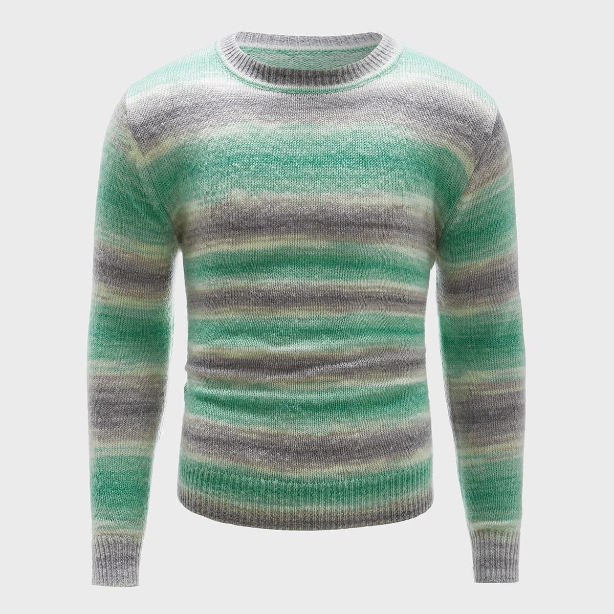 Мужской свитер с круглым вырезом в полоску