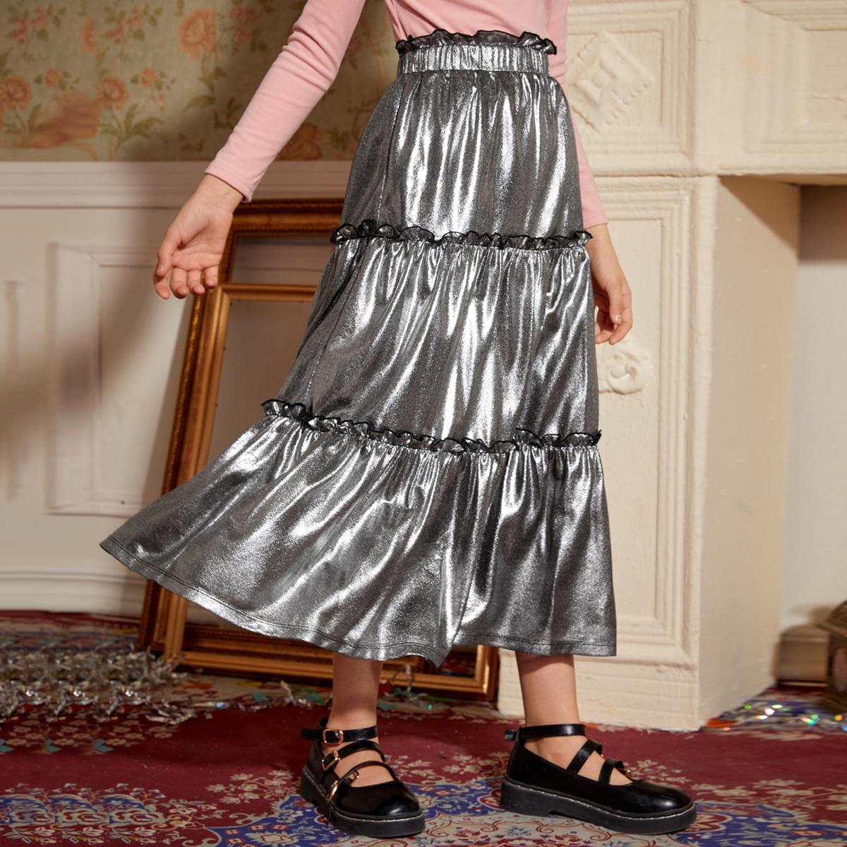 Юбка с присборенной талией металлического цвета для девочек
