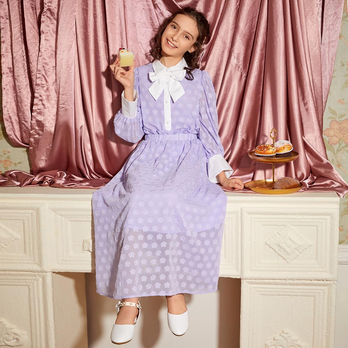 Юбка и блуза с оригинальным рукавом и цветочной аппликацией для девочек