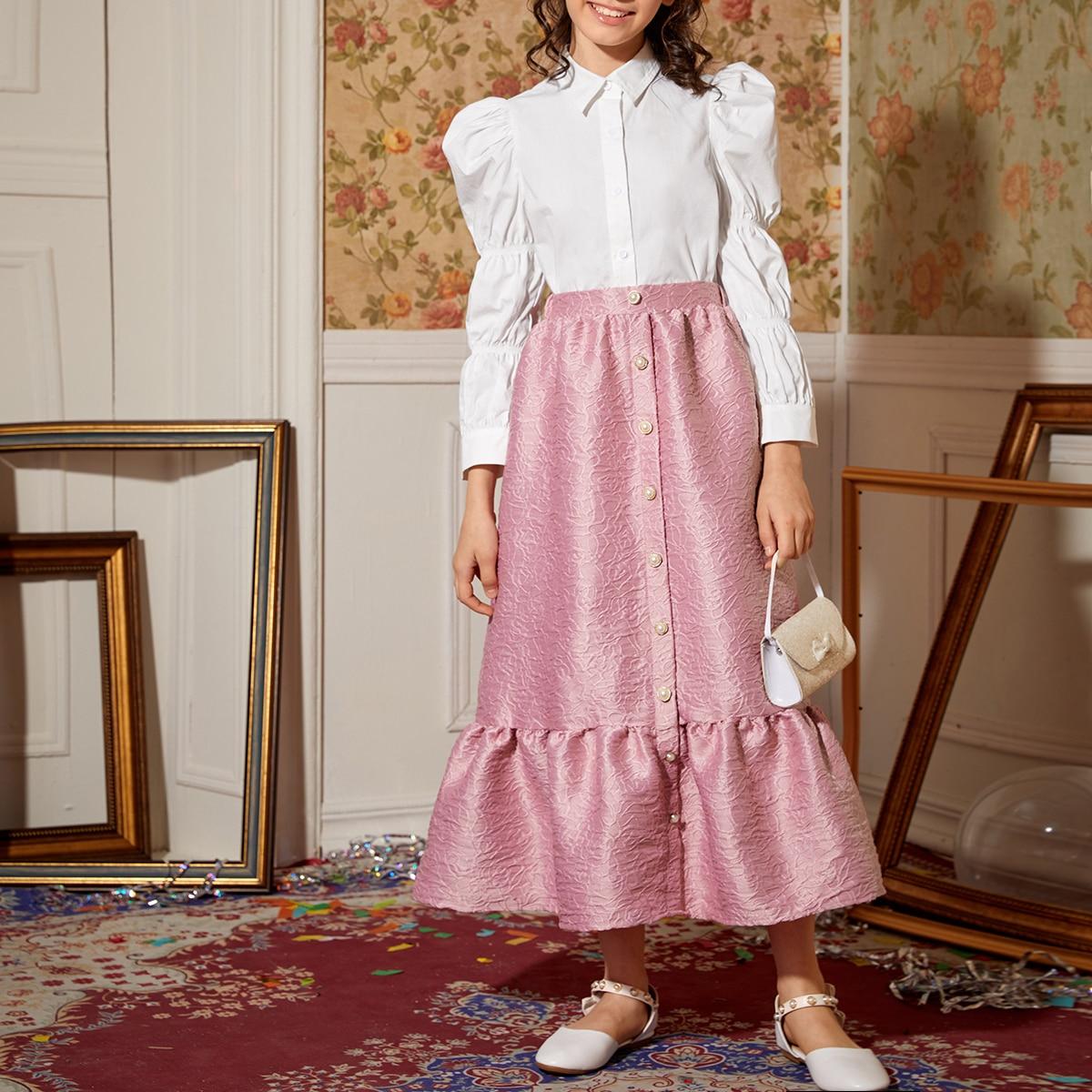 Жаккардовая юбка и блуза с оригинальным рукавом для девочек