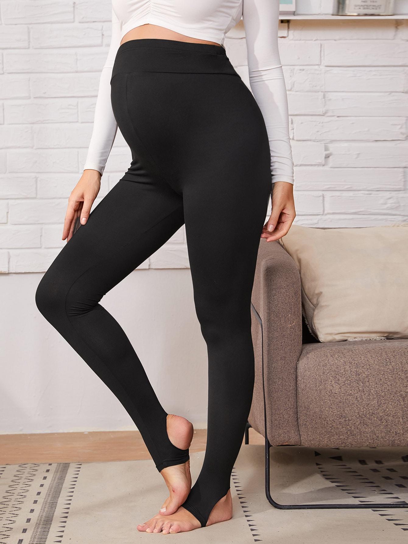 Maternity Solid Elastic Waist Stirrup Leggings thumbnail