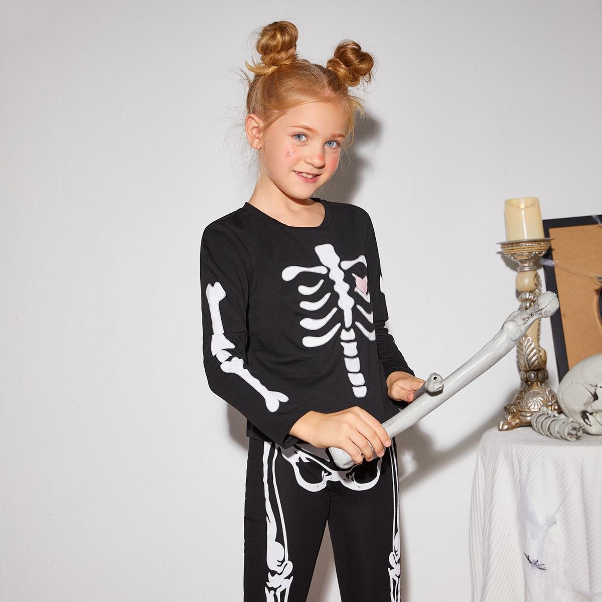Футболка с принтом хэллоуина для девочек 2шт