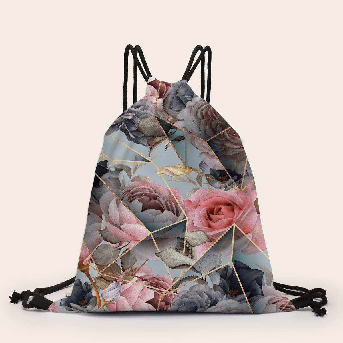 Рюкзак на кулиске с цветочным рисунком