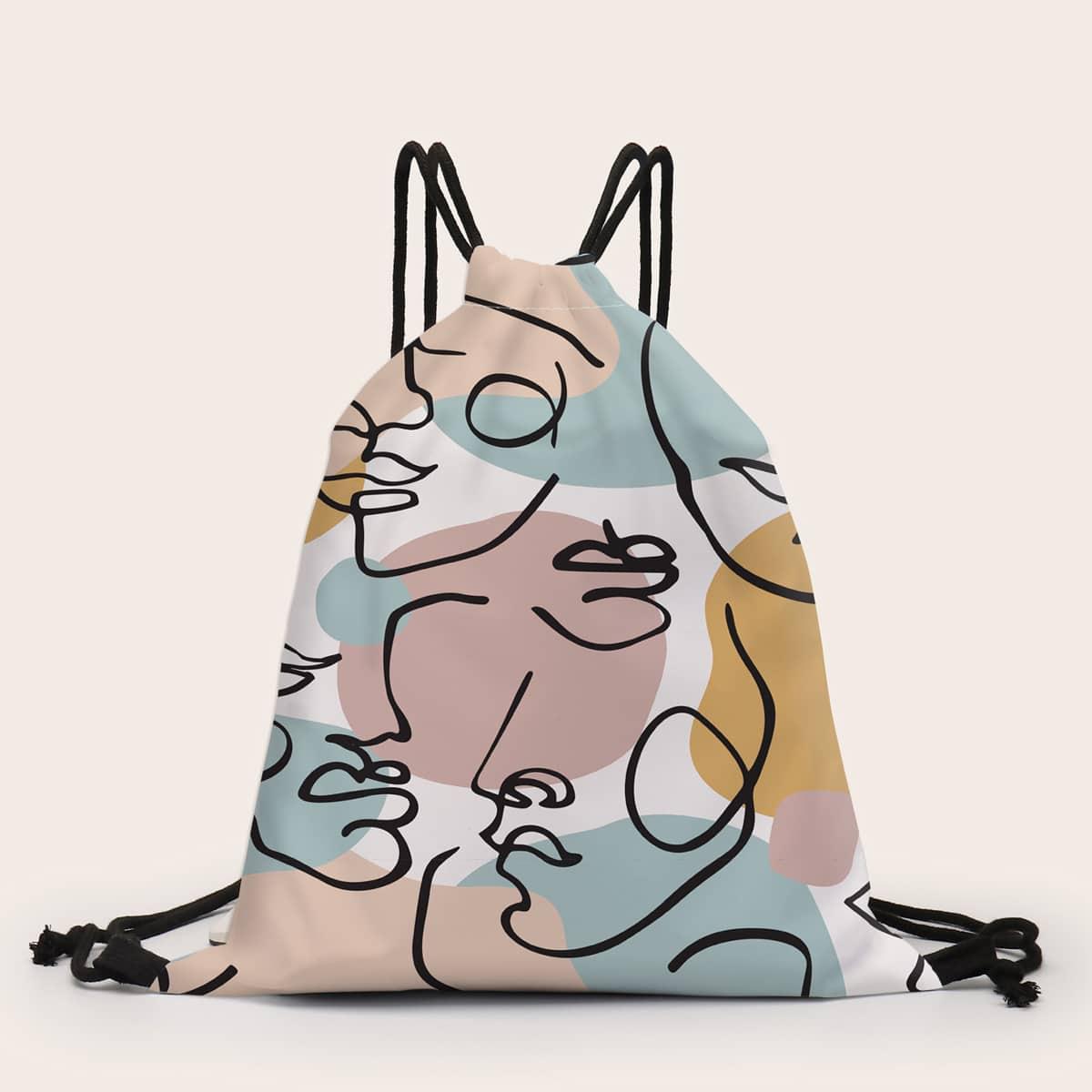Рюкзак на кулиске с графическим принтом