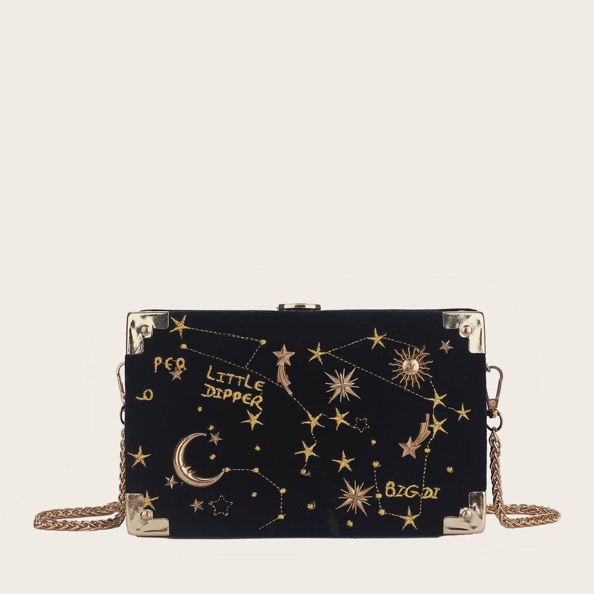 Сумка-клатч с вышивкой луны и звезды