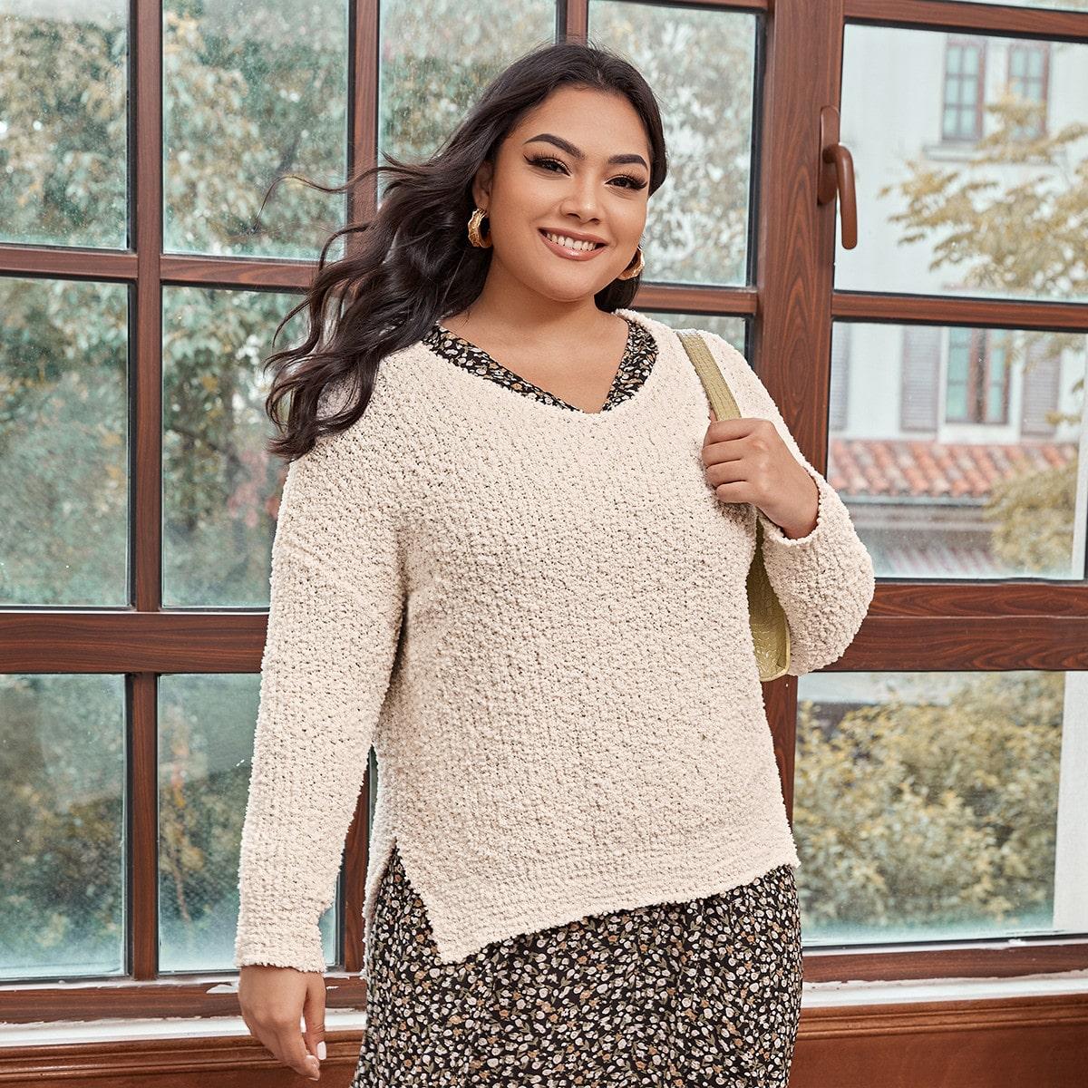 Разрез одноцветный повседневный свитер размер плюс