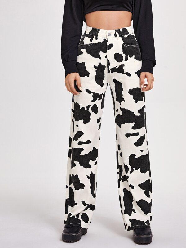 Vaqueros De Pierna Ancha Con Estampado De Vaca Mode De Mujer Shein Espana