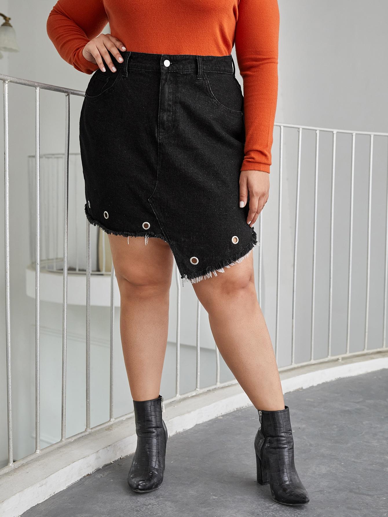 Plus Grommet Eyelet Detail Asymmetrical Denim Skirt thumbnail