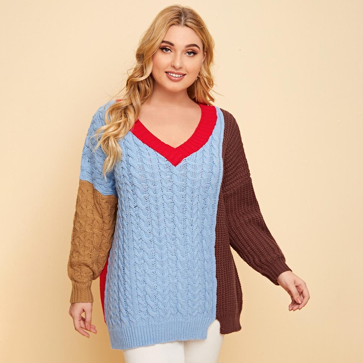 Контрастный трикотажный свитер размера плюс с v-образным воротником
