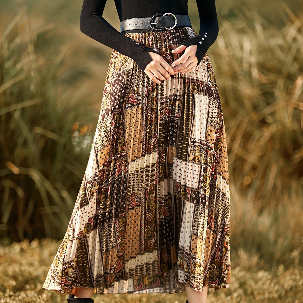 Плиссированная юбка макси с принтом без пояса