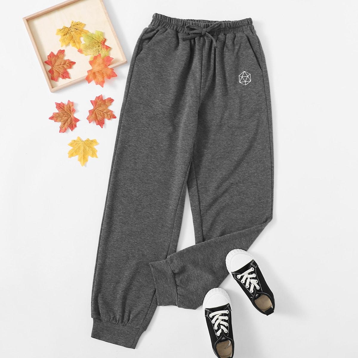 С бантом геометрический повседневный брюки для девочек