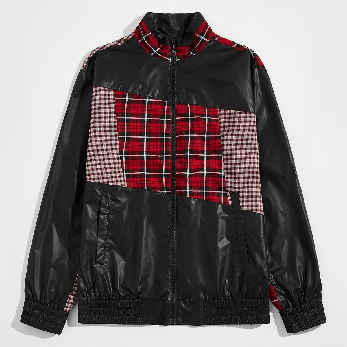 Мужская контрастная куртка ветровка в клетку
