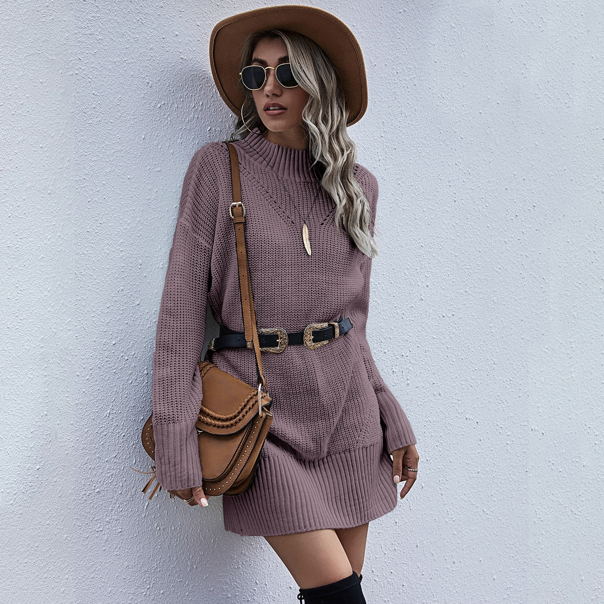 Одноцветный повседневный платья-свитеры