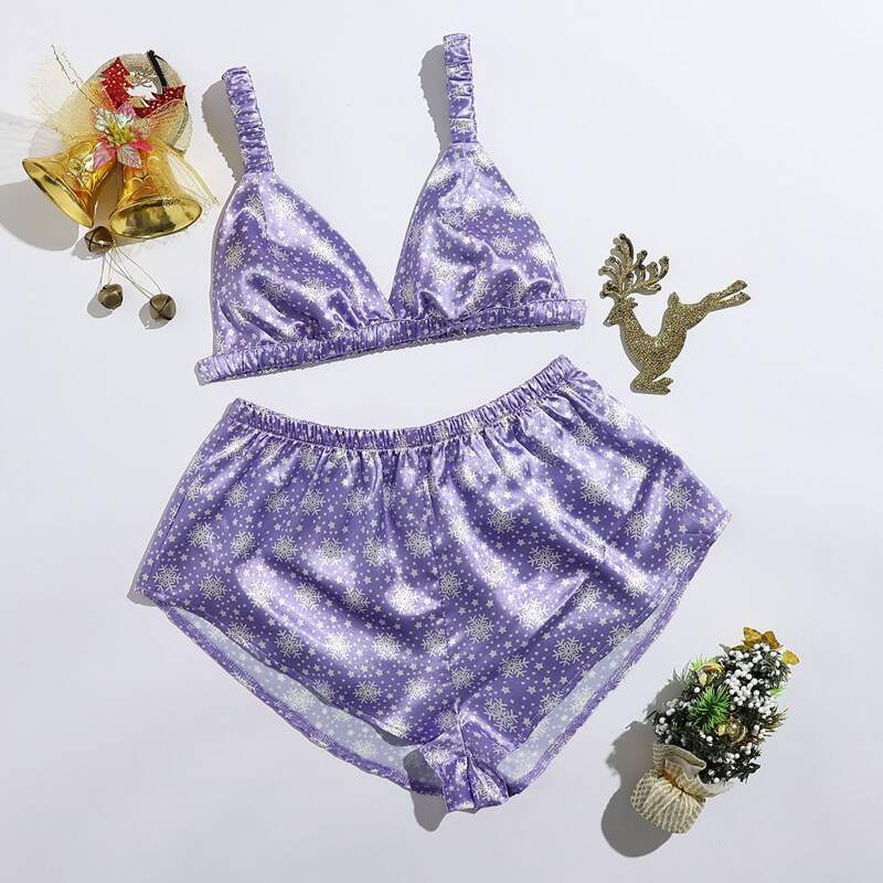 Galaxy Print Satin Cami Night Set, Lilac purple
