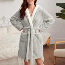 Dual Pocket Belted Hooded Flannel Robe