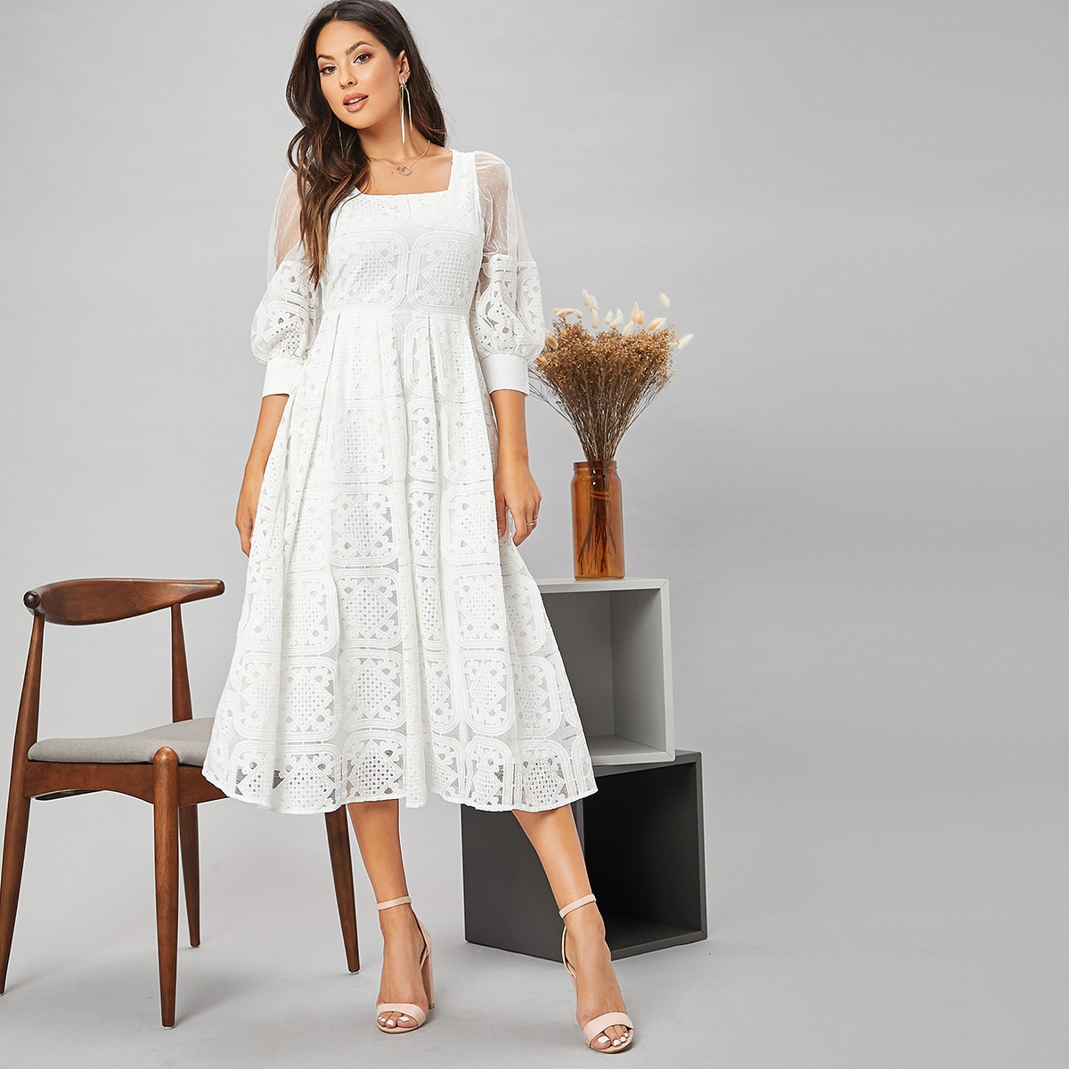 Puff Sleeve Guipure Lace A Line Dress