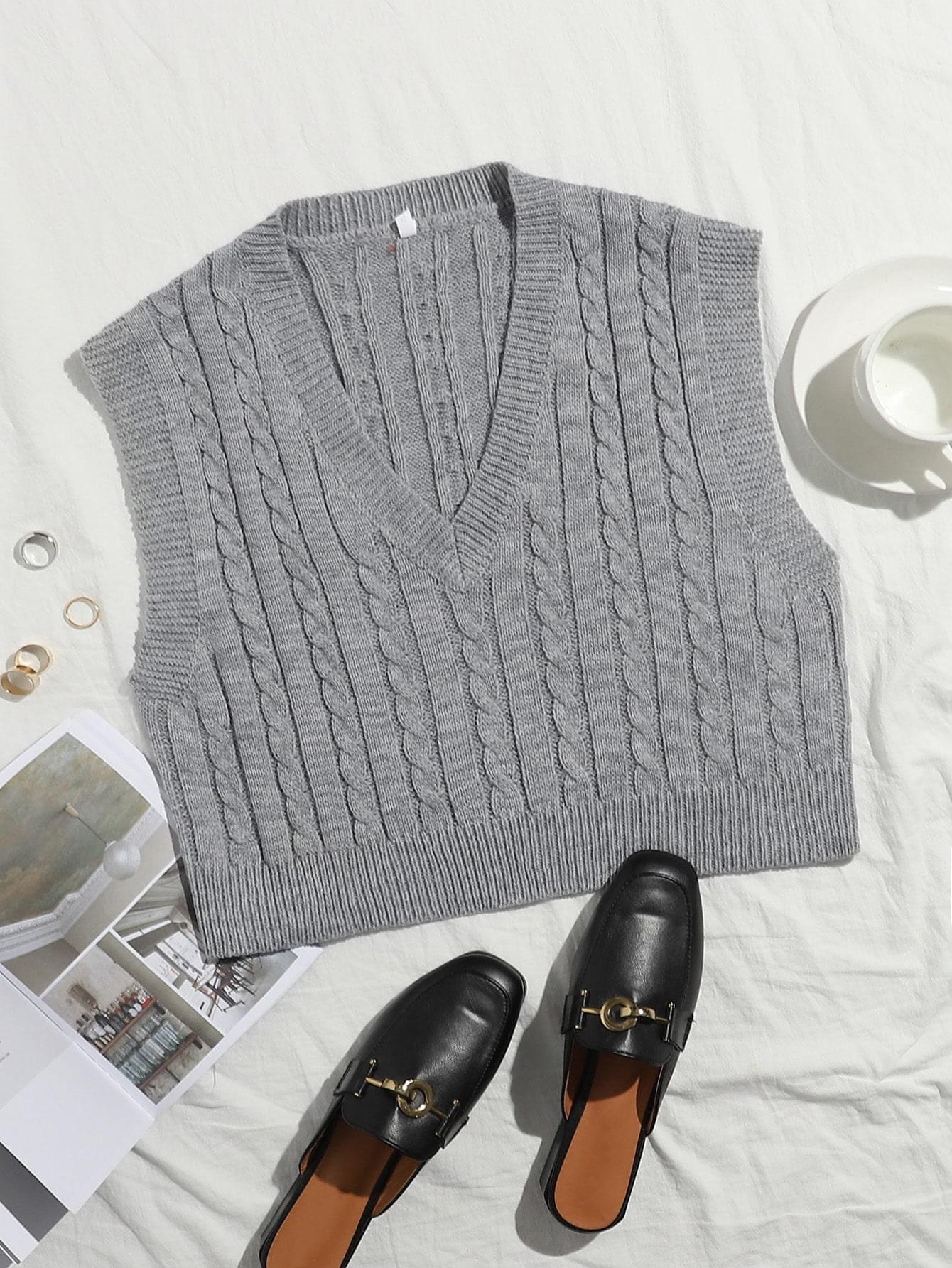 Cable Knit V-neck Sweater Vest thumbnail