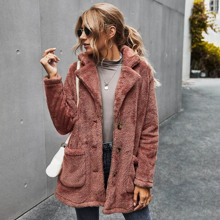 Button Front Double Pocket Teddy Coat