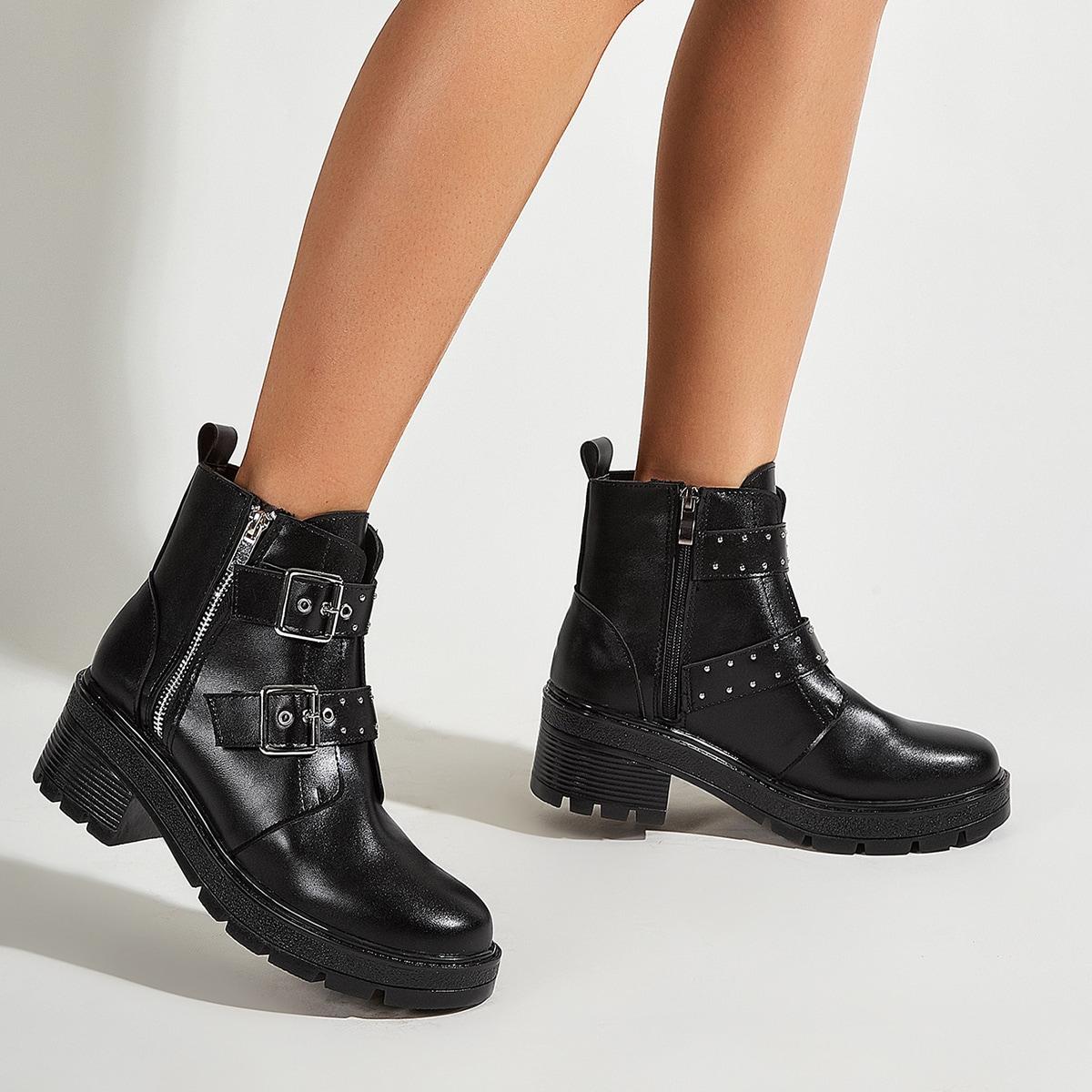 Толстый каблук боковой замок Осенняя/зимняя обувь