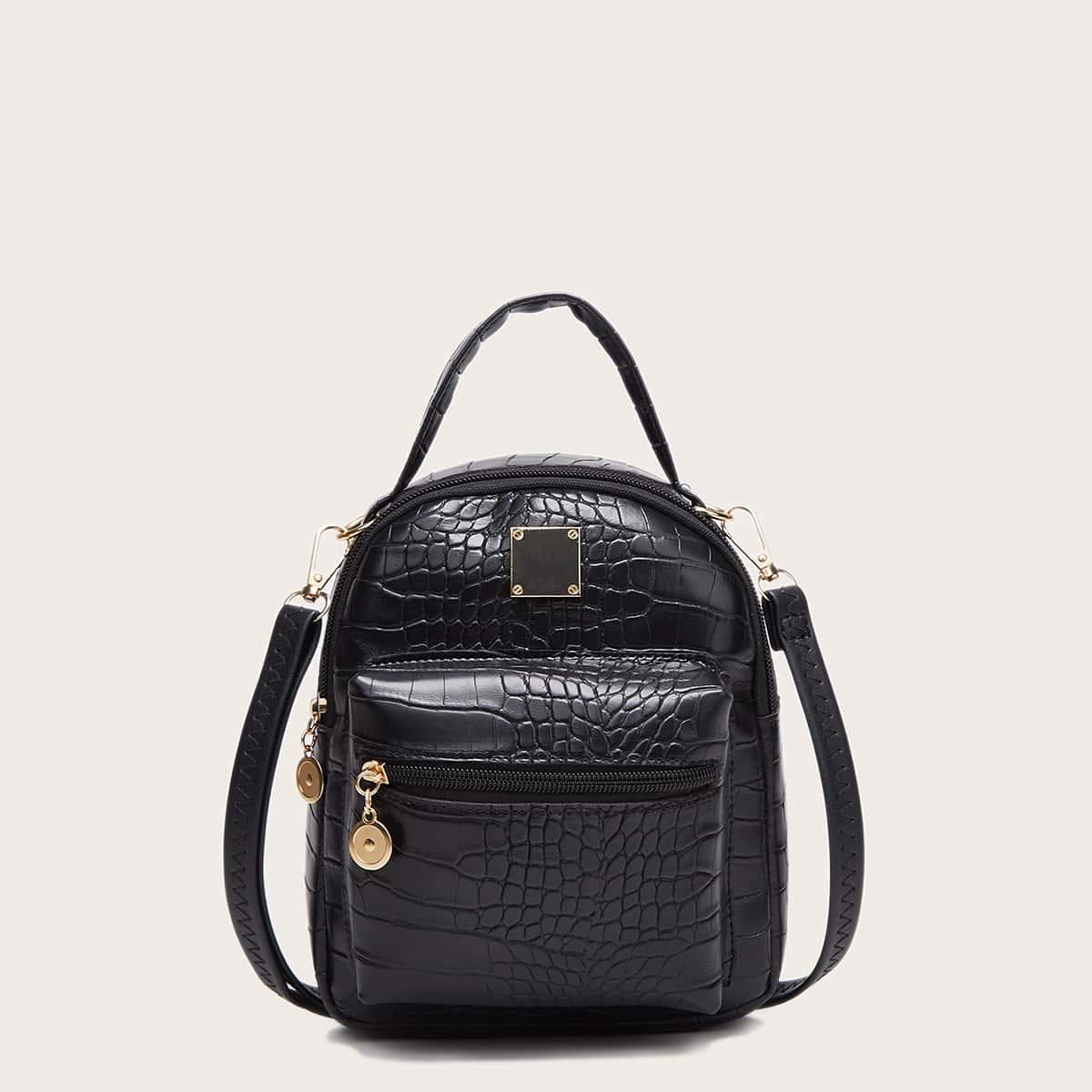 Рюкзак с карманом и тиснением под крокодила